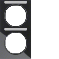 10122225 Frame 2gang vertical with labelling field,  Berker R.3, black glossy