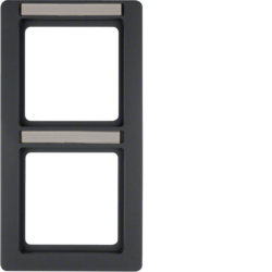 10126016 Frame 2gang vertical with labelling field,  Berker Q.1, anthracite velvety,  lacquered