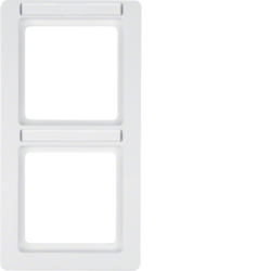 10126019 Frame 2gang vertical with labelling field,  Berker Q.1, polar white velvety