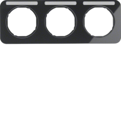 10132135 Frame 3gang horizontal with labelling field,  Berker R.1, black glossy