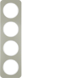 10142114 Frame 4gang Berker R.1, stainless steel/polar white