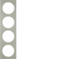 10142214 Frame 4gang Berker R.3, stainless steel/polar white