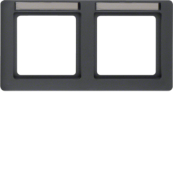 10226016 Frame 2gang horizontal with labelling field,  Berker Q.1, anthracite velvety,  lacquered