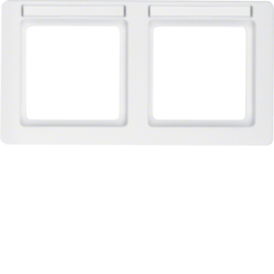 10226019 Frame 2gang horizontal with labelling field,  Berker Q.1, polar white velvety