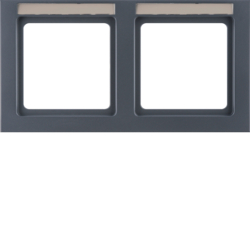 10226086 Frame 2gang horizontal with labelling field,  Berker Q.3, anthracite velvety,  lacquered