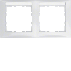 10228919 Frame 2gang horizontal with labelling field,  Berker S.1, polar white glossy