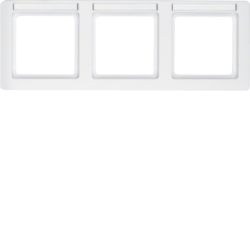 10236019 Frame 3gang horizontal with labelling field,  Berker Q.1, polar white velvety