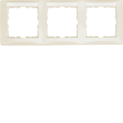 10238912 Frame 3gang horizontal with labelling field,  Berker S.1, white glossy