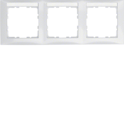 10238919 Frame 3gang horizontal with labelling field,  Berker S.1, polar white glossy