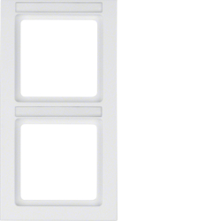 10526099 Frame 2gang vertical with labelling field,  Berker Q.3, polar white velvety