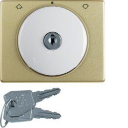 10790001 Centre plate with lock and push lock function for switch for blinds Key can be removed in 0 position,  Berker Arsys,  brown glossy