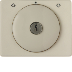 10790002 Centre plate with lock and push lock function for switch for blinds Key can be removed in 0 position,  Berker Arsys,  white glossy