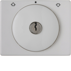 10790069 Centre plate with lock and push lock function for switch for blinds Key can be removed in 0 position,  Berker Arsys,  polar white glossy