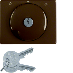 10790101 Centre plate with lock and push lock function for switch for blinds Key can be removed in 3 positions,  Berker Arsys,  brown glossy
