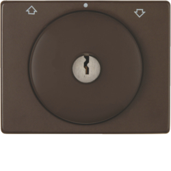 10790201 Centre plate with lock and touch function for switch for blinds Key can be removed in 0 position,  Berker Arsys,  brown glossy