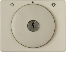 10790202 Centre plate with lock and touch function for switch for blinds Key can be removed in 0 position,  Berker Arsys,  white glossy
