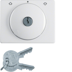 10790269 Centre plate with lock and touch function for switch for blinds Key can be removed in 0 position,  Berker Arsys,  polar white glossy