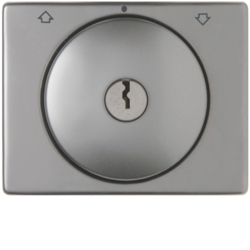 10790304 Centre plate with lock and push lock function for switch for blinds Key can be removed in 0 position,  Berker Arsys,  stainless steel,  metal matt finish