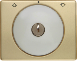 10790502 Centre plate with lock and touch function for switch for blinds Key can be removed in 0 position,  Berker Arsys,  gold/polar white,  matt/glossy,  aluminium anodised