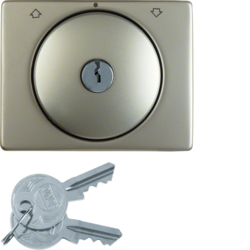 10790504 Centre plate with lock and touch function for switch for blinds Key can be removed in 0 position,  Berker Arsys,  stainless steel,  metal matt finish