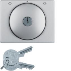10797103 Centre plate with lock and push lock function for switch for blinds Key can be removed in 0 position,  Berker K.5, Aluminium,  aluminium anodised