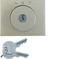 10797104 Centre plate with lock and push lock function for switch for blinds Key can be removed in 0 position,  Berker K.5, stainless steel,  metal matt finish