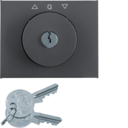 10797106 Centre plate with lock and push lock function for switch for blinds Key can be removed in 0 position,  Berker K.1, anthracite matt,  lacquered