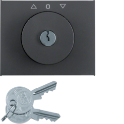 10797206 Centre plate with lock and push lock function for switch for blinds Key can be removed in 3 positions,  Berker K.1, anthracite matt,  lacquered