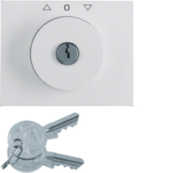 10797209 Centre plate with lock and push lock function for switch for blinds Key can be removed in 3 positions,  Berker K.1, polar white glossy