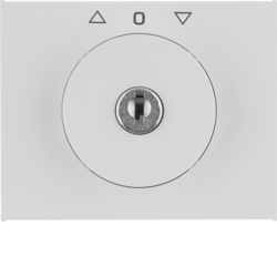 10797309 Centre plate with lock and touch function for switch for blinds Key can be removed in 0 position,  Berker K.1, polar white glossy