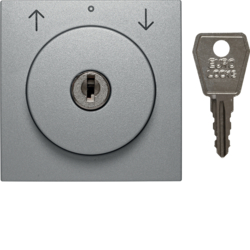 10811404 Centre plate with lock and push lock function for switch for blinds Key can be removed in 0 position,  Berker S.1/B.3/B.7, aluminium,  matt,  lacquered