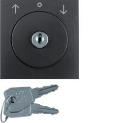 10811606 Centre plate with lock and push lock function for switch for blinds Key can be removed in 0 position,  Berker S.1/B.3/B.7, anthracite,  matt