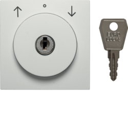 10811909 Centre plate with lock and push lock function for switch for blinds Key can be removed in 0 position,  Berker S.1/B.3/B.7, polar white matt