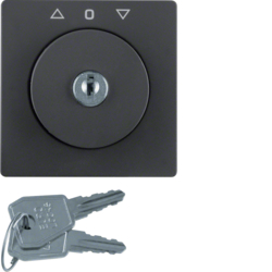 10826086 Centre plate with lock and push lock function for switch for blinds Key can be removed in 3 positions,  Berker Q.1/Q.3/Q.7/Q.9, anthracite velvety,  lacquered