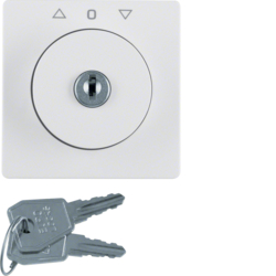 10826089 Centre plate with lock and push lock function for switch for blinds Key can be removed in 3 positions,  Berker Q.1/Q.3/Q.7/Q.9, polar white velvety