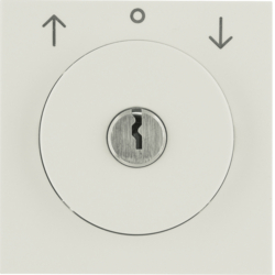 10828982 Centre plate with lock and push lock function for switch for blinds Key can be removed in 3 positions,  Berker S.1, white glossy