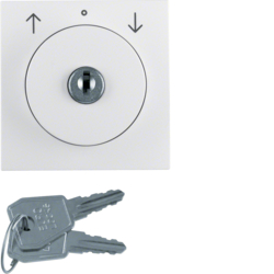 10828989 Centre plate with lock and push lock function for switch for blinds Key can be removed in 3 positions,  Berker S.1/B.3/B.7, polar white glossy