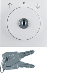 10831909 Centre plate with lock and touch function for switch for blinds Key can be removed in 0 position,  Berker S.1/B.3/B.7, polar white matt