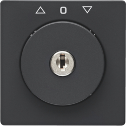 10836086 Centre plate with lock and touch function for switch for blinds Key can be removed in 0 position,  Berker Q.1/Q.3/Q.7/Q.9, anthracite velvety,  lacquered