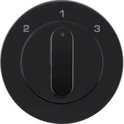 10842045 Centre plate with rotary knob for 3-step switch Berker R.1/R.3/R.8, black glossy