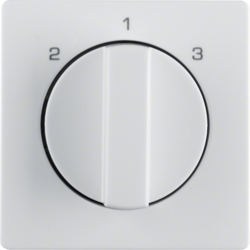 10846089 Centre plate with rotary knob for 3-step switch Berker Q.1/Q.3, polar white velvety