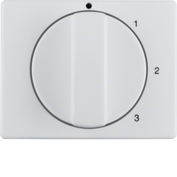 10870069 Centre plate with rotary knob for 3-step switch with neutral-position,  polar white glossy