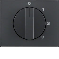 10877106 Centre plate with rotary knob for 3-step switch with neutral-position,  Berker K.1, anthracite matt,  lacquered