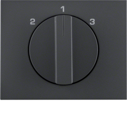 10887106 Centre plate with rotary knob for 3-step switch Berker K.1, anthracite matt,  lacquered
