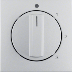 10961404 Centre plate with rotary knob for 3-step switch with neutral-position,  Berker S.1/B.3/B.7, aluminium,  matt,  lacquered