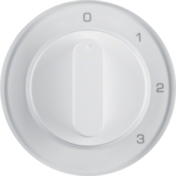 10962089 Centre plate with rotary knob for 3-step switch with neutral-position,  Berker R.1/R.3/R.8, polar white glossy