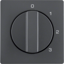 10966086 Centre plate with rotary knob for 3-step switch with neutral-position,  Berker Q.1/Q.3, anthracite velvety,  lacquered