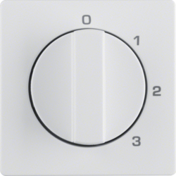 10966089 Centre plate with rotary knob for 3-step switch with neutral-position,  Berker Q.1/Q.3, polar white velvety