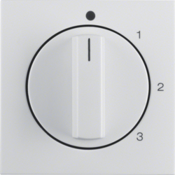 10968989 Centre plate with rotary knob for 3-step switch with neutral-position,  Berker S.1/B.3/B.7, polar white glossy