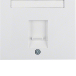 11707009 Centre plate with dust protection slider Labelling field,  Berker K.1, polar white glossy